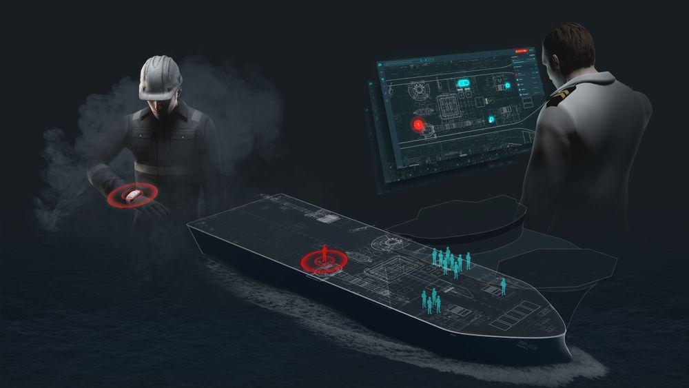 Scanreach holder oversikt over hvor mannskapet befinner seg i eventuelle krisesituasjoner. Alle om bord har armbånd som kommuniserer via det trådløse mesh-nettverket. åndet