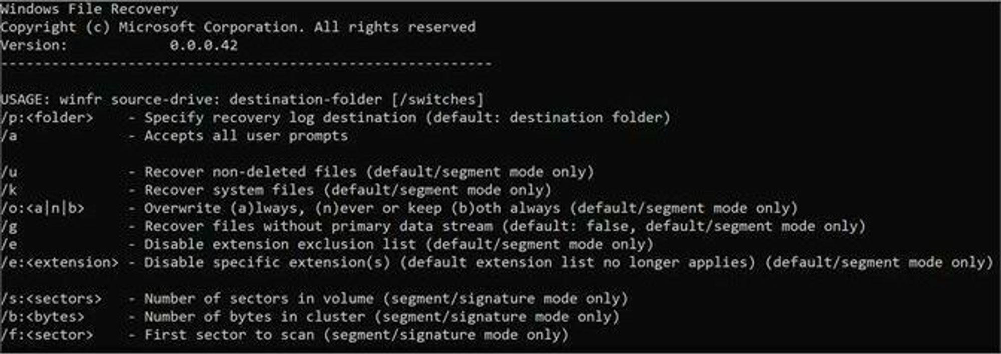 Windows File Recovery kjøres fra kommandolinjen.