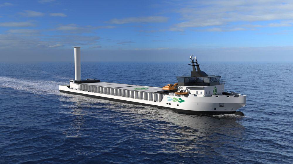 Nærskipsflåten må fornyes. Det gir grunnlag for utvikling av ny og grønnere teknologi som kan eksporteres. Vard Engineering Brevik har designet et bulkskip som kan passe til kravene Felleskjøpet og Heidelberg setter til et skip på ca. 5.0000 dødvekttonn.