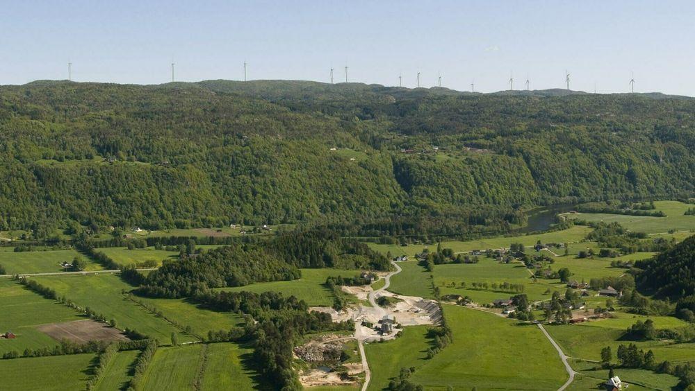 Illustrasjon av Kvinesheia vindpark, sett fra Kleiva.