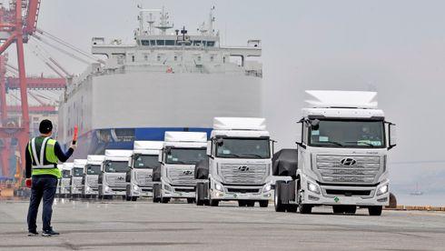 Hyundai Xcient Fuel Cell på vei til Europa.