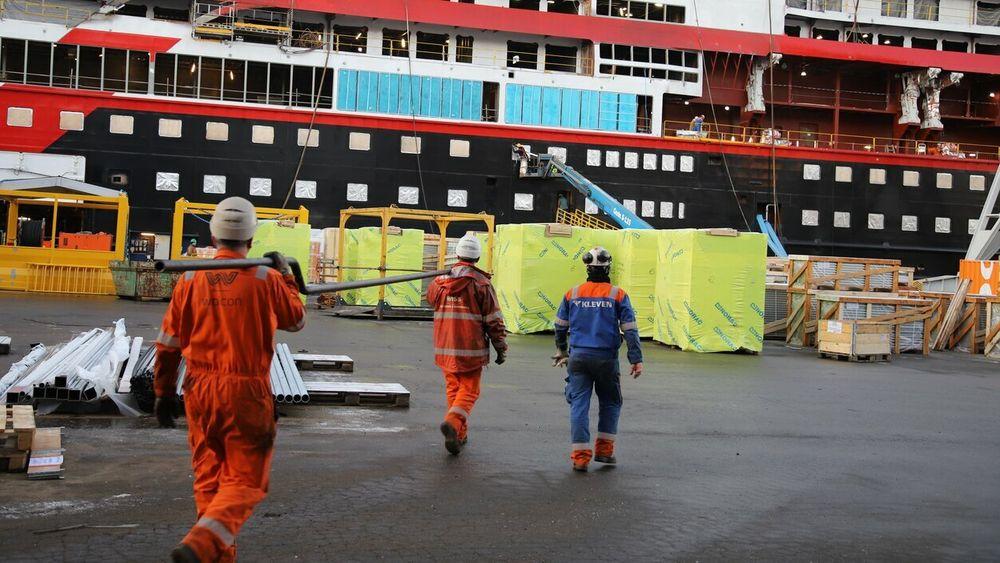 Kleven verft i Ulsteinvik i Møre og Romsdal. Green Yard Group overtar verftet, som gikk konkurs tidligere denne måneden.