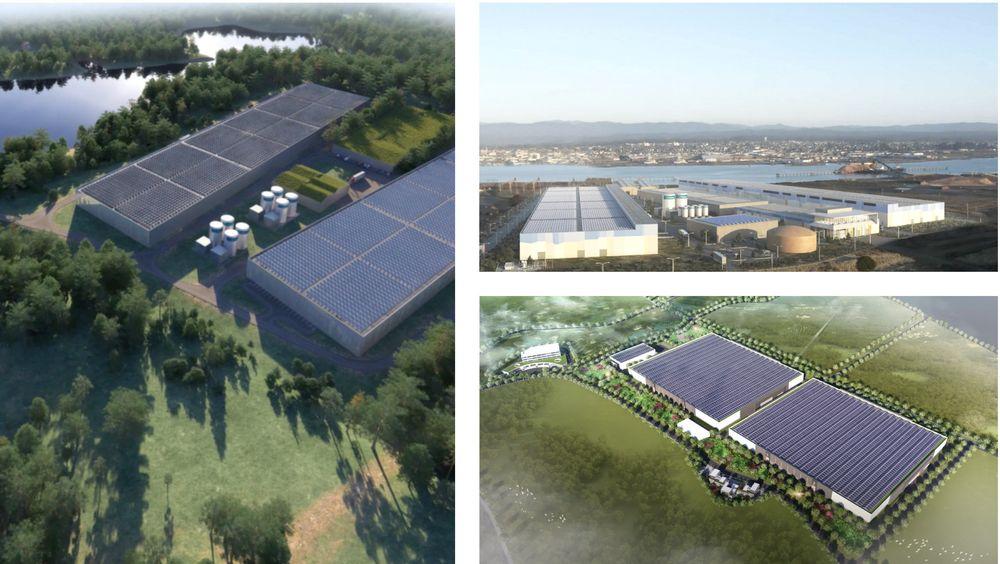 Slik kan de to anleggene til Nordic Aquafarms og det ene anlegget til Nordic Aqua Partners (nederst til høyre) bli seende ut.