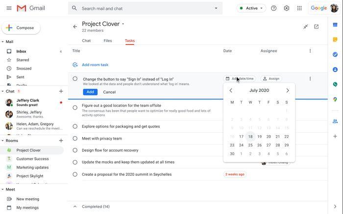 Opprett gjøremål inne i et Google Chat-rom uten å måtte gå ut av Gmail.