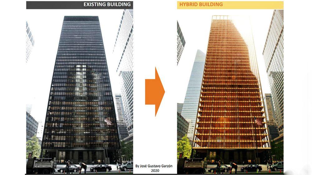 I en redesign av det historiske Seagram-bygget i New York har arkitekten klart å erstatte store mengder betong med tre, og kuttet utslippene med 68 prosent - om bygget hadde vært ført opp på nytt.