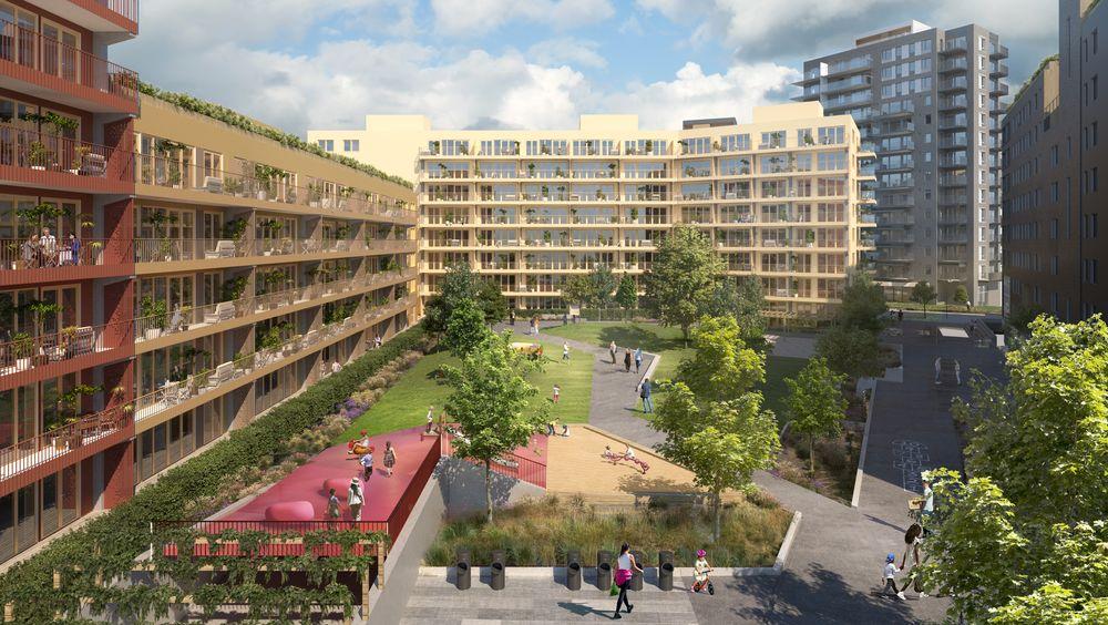 Ulven Vest, med 182 leiligheter. Det nye boområdet i Oslo har allerede fått 342 leiligheter. Når trinn to er ferdigstilt gjenstår fortsatt  nesten 2500 boliger før området er ferdig utbygget, så her blir det aktivitet i mange år.