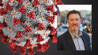 Montasje av koronaviruset med et bilde av Nils-Ove Gamlem over.