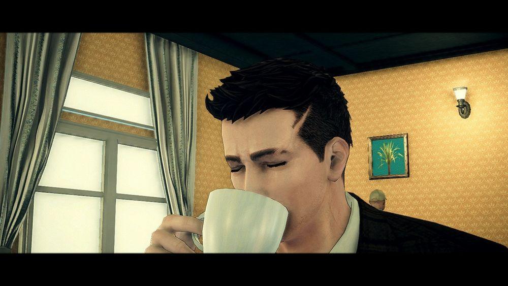Francis York Morgan drikk kaffi.