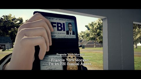 Francis York Morgan visar FBI-skiltet sitt.