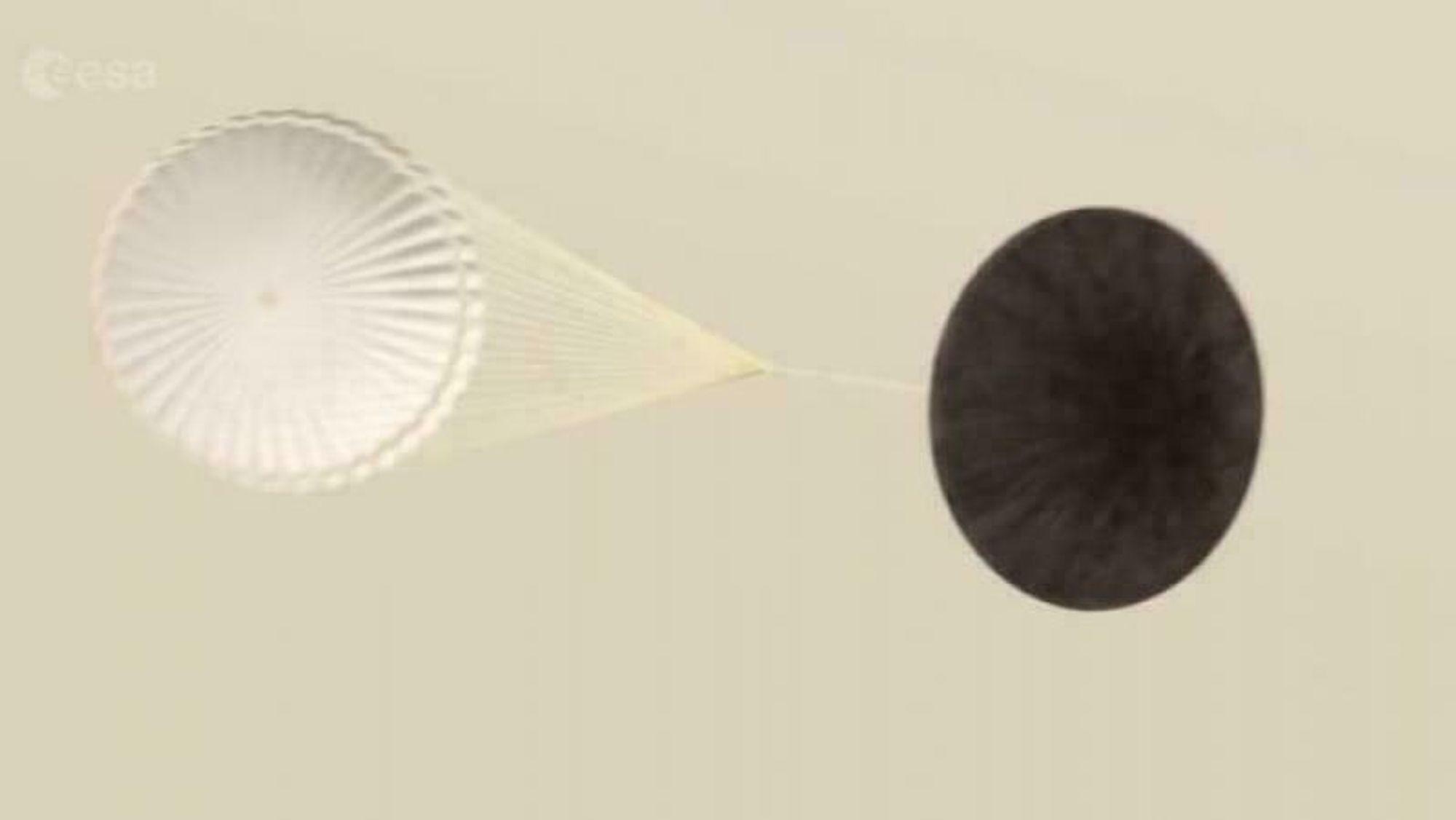 Hvordan virker en fallskjerm i atmosfæren på mars?