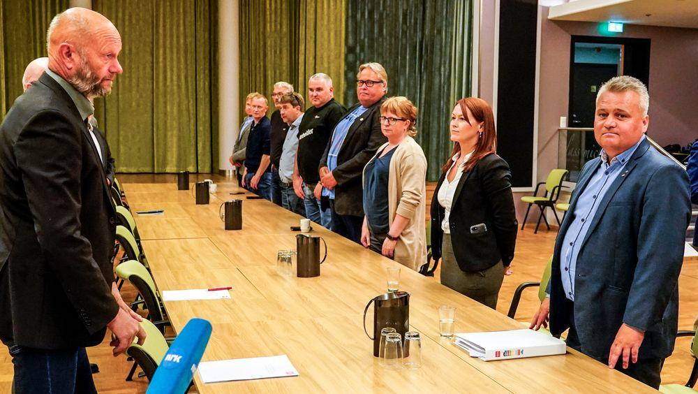 Pressekonferanse med Stein Lier Hansen (t.v.) i forbindelse med lønnsoppgjøret.