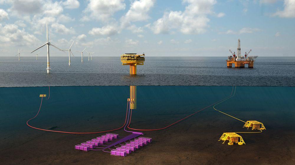 Batteri, laststyring, hydrogenlager på havbunnen, ammoniakk fraktet med skip fra land. Mange leter nå etter løsninger som kan gjøre oljeplattformene elektriske uten å bygge kabel til land. Foto: TechnipFMC