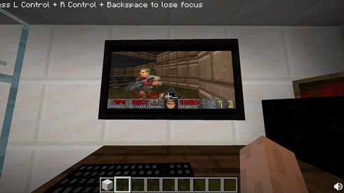 Doom på Windows 95 i Minecraft.