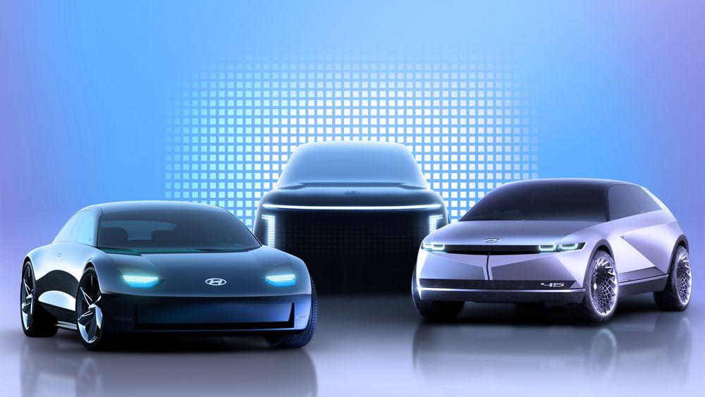 Konseptbiler fra Hyundai. Fra venstre: Ioniq 6, Ioniq 7 og Ioniq 5.