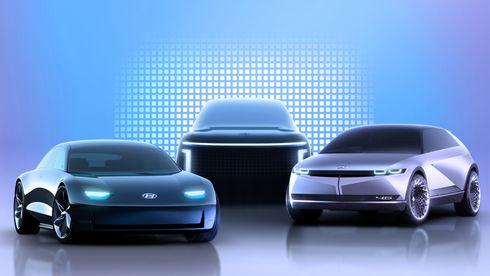 Konseptbiler fra Hyundai. Fra venstre: Ioniq 5, Ioniq 7 og Ioniq 6.