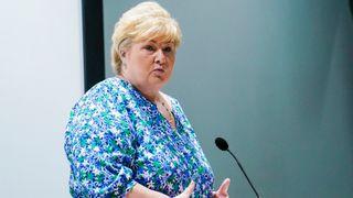 Statsminister Erna Solberg presenterer ny stortingsmelding om politiet.