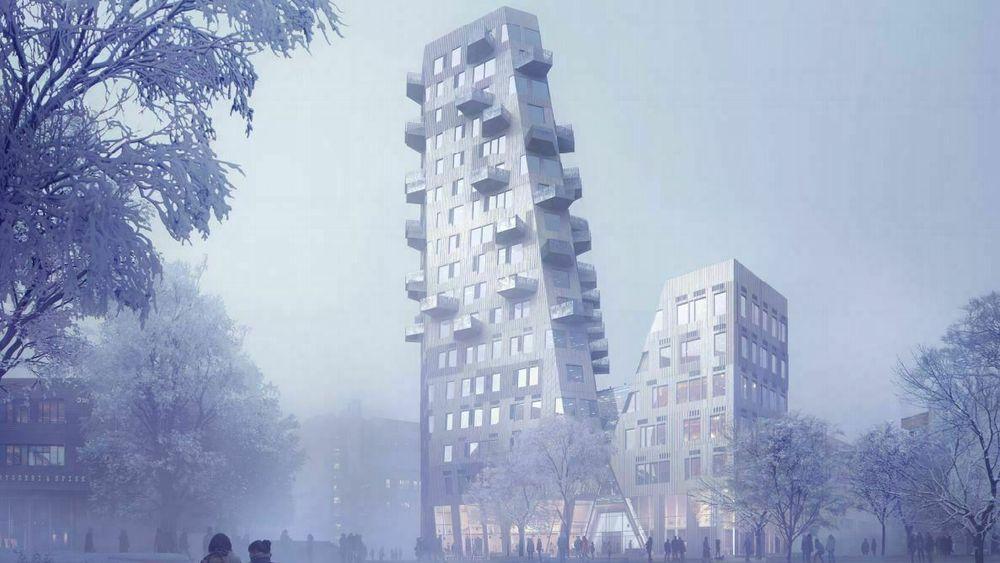 Balkongkassene skyter ut som knopper på en kvist på det 70 meter høye tårnet.