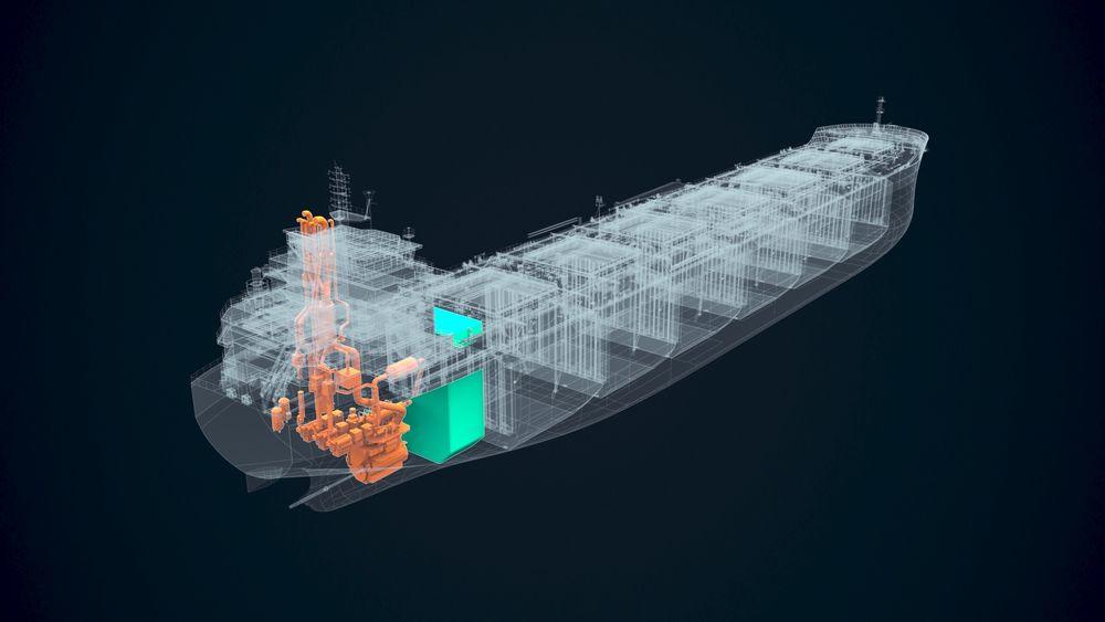 Regjeringens satsing på nullutslipps havgående skip er for puslete, ifølge Rederiforbundet. Næringen gjør allerede mye selv, men trenger mer hjelp. Gjennomskåret modell av ammoniakkskip med motor og tank.