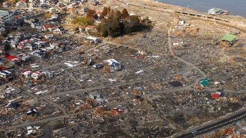 Flyfoto av Sukuiso i Japan etter jordskjelvet i 2011.