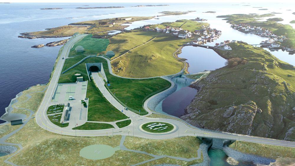 På Kvitsøy skal det i tillegg til tunnelarmen ned til Rogfast også fylles tunnelmasser ut i sjø før bygging av om lag fire kilometer med vei og flere nye bruer.