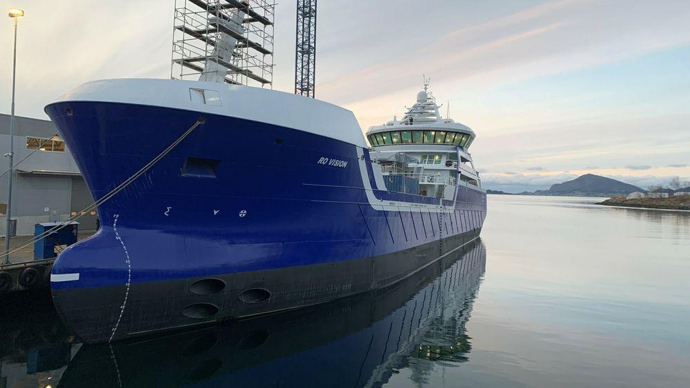 Brønnbåtene bygges større enn før. Ro Vision ble levert tidligere i år. Her er den fra under byggingen.