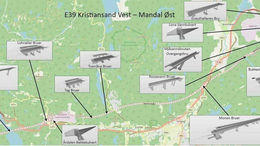 Høsten 2022 skal det være 17 nye bruer på den knapt 19 kilometer lange strekningen langs E39.