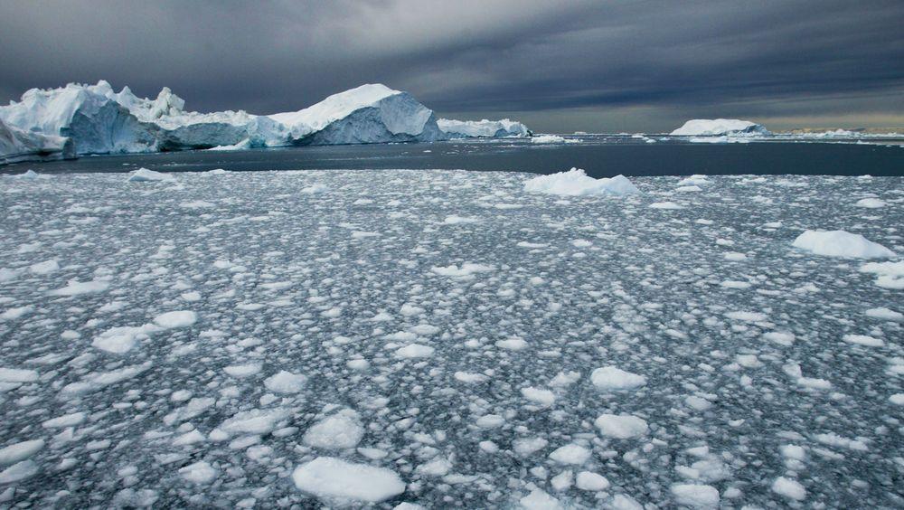 Smeltende is utenfor Ilulissat på Grønland. Arkivfoto: