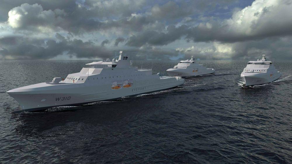 Illustrasjon av de kommende tre kystvaktskipene.