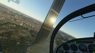 Den fiktive og svært høye skyskraperen i Melbourne, Australia, som nå kan sees i Microsoft Flight Simulator 2020.