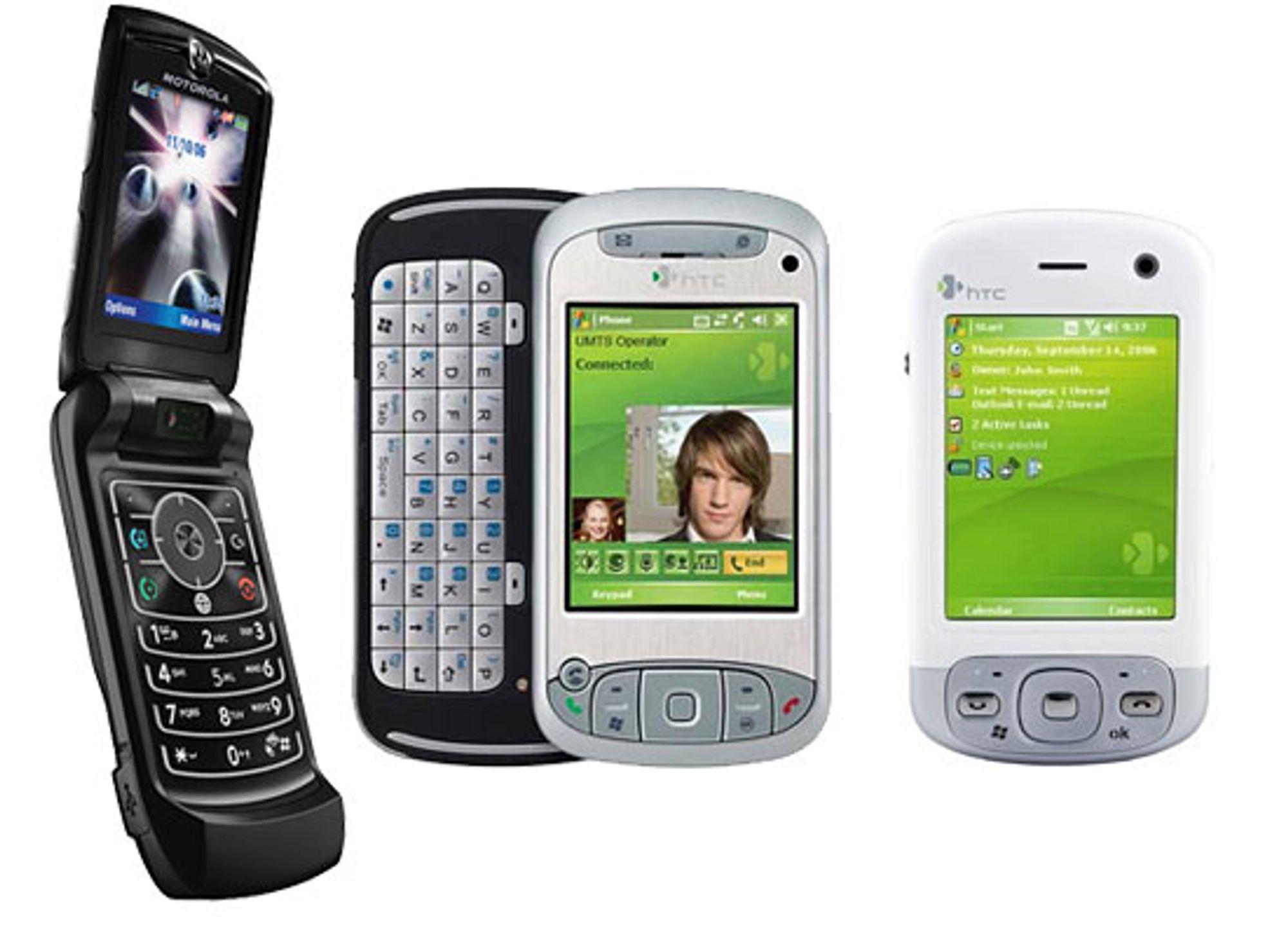 Disse tre HSDPA-telefonene kan du allerede få kjøpt i butikkene.