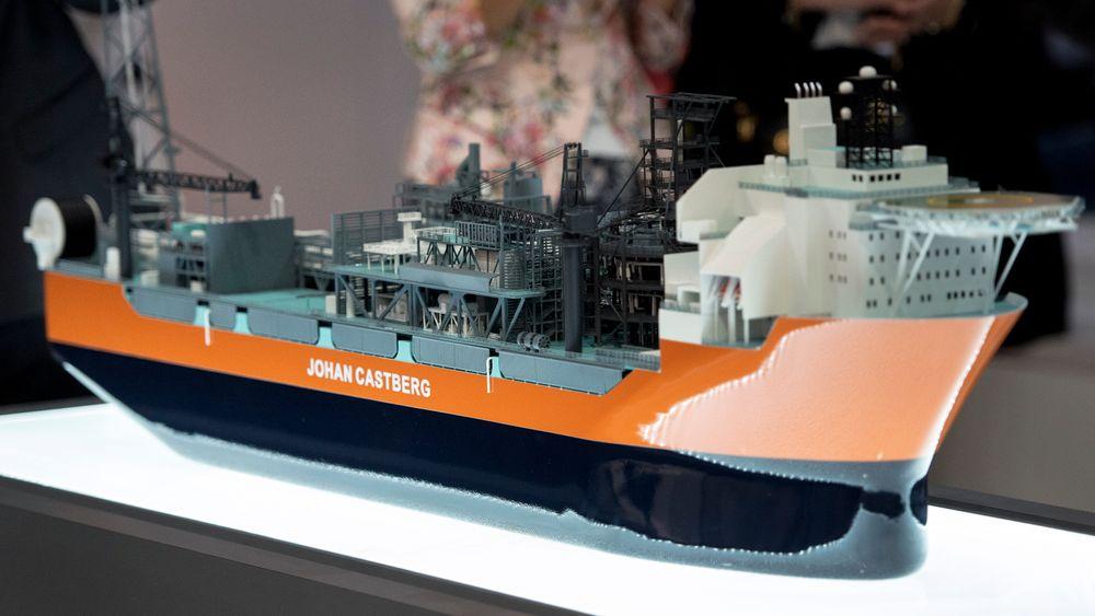 Modell av produksjonsskipet til Johan Castberg-feltet på ONS i Stavanger i 2016. Foto: Carina Johansen / NTB scanpix