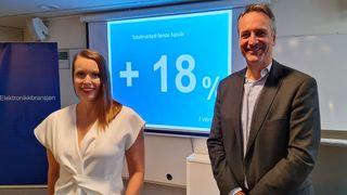 Stort tall: Kommunikasjonssjef Marte Ottemo og administrerende direktør Jan Røsholm i Stiftelsen Elektronikkbransjen melder om en kraftig vekst i salget av forbrukerelektronikk.