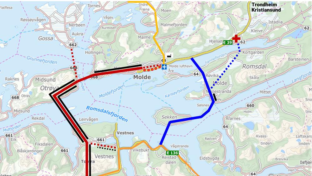 Illustrasjon: Kartet viser de to alternativene, Møreaksens i rødt og Romsdalsaksen i blått. Rød stripe viser hele traseen til Møreaksen. Den doble svarte streken viser dobeltløpstunnel, og den enkle svarte viser enkeltløpstunnel.
