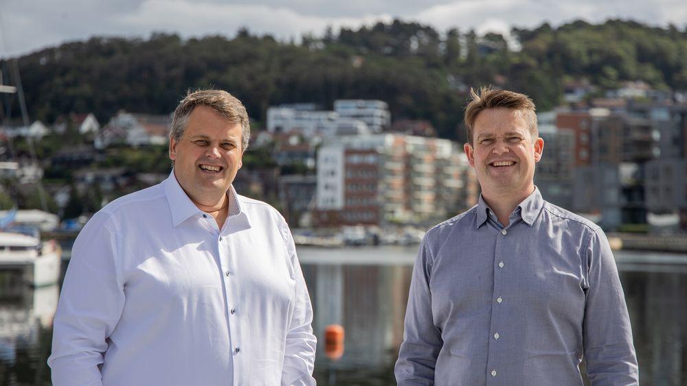 Rasmus Gjesing (f.v.) er daglig leder for Håmsø Patentbyrå i Sandnes. Krister Mangersnes leder patentavdelingen.