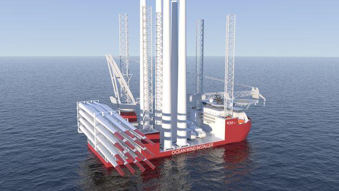 Nytt installasjonsskip skal løfte 1000 tonn turbin til 165 meter høye vindkrafttårn