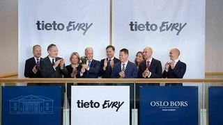 Tietoevry ved konsernsjef Kimmo Alkio da IT-kjempen formelt var ferdig fusjonert og aksjen klar til handel på børsene i Helsinki, Stockholm og Oslo.