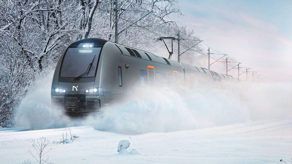 De nye Flort-togene er 112,7 meter lange og har plass til cirka 100 flere passasjerer enn togene som går på Trønderbanen i dag.