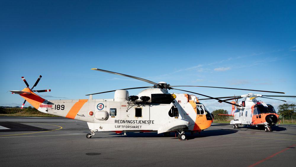 Vaktskifte: Bilde fra redningstjenestens base på Sola i forbindelse med at Sar Queen overtok for Sea King 1. september.