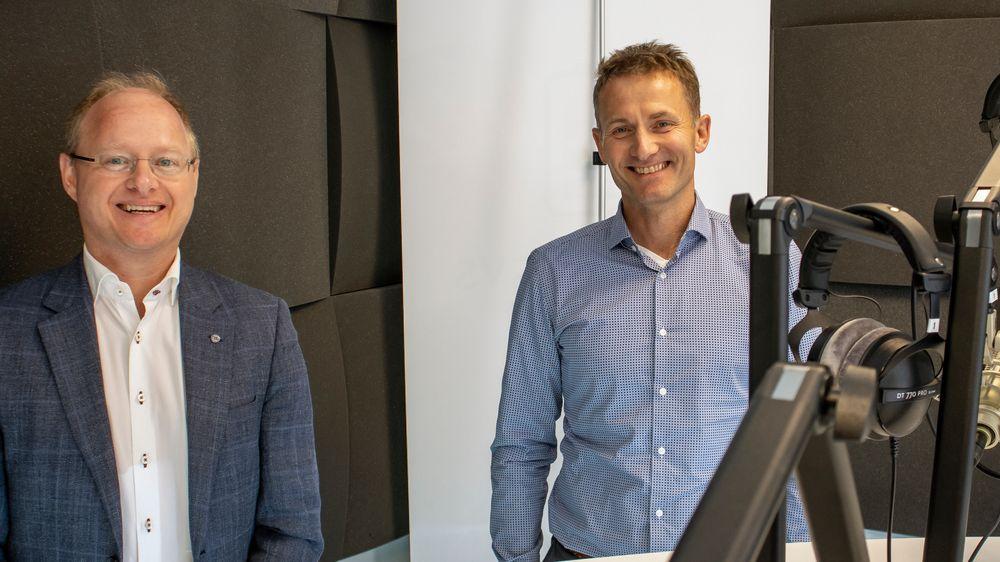 Materialprodusenter: Fra venstre; leder for Elkem Battery Materials, PhD Stian Madshus og teknologidirektør Håvard Moe.