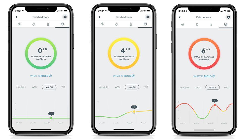 Muggvarsel: Airthings Wave Mini luftsensor kan nå varsle om fare for mugg og man kan følge med på utviklingen i appen.