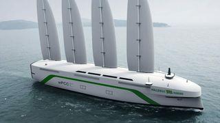 Bilskip får 80 meter høye seil – krysser havet uten utslipp