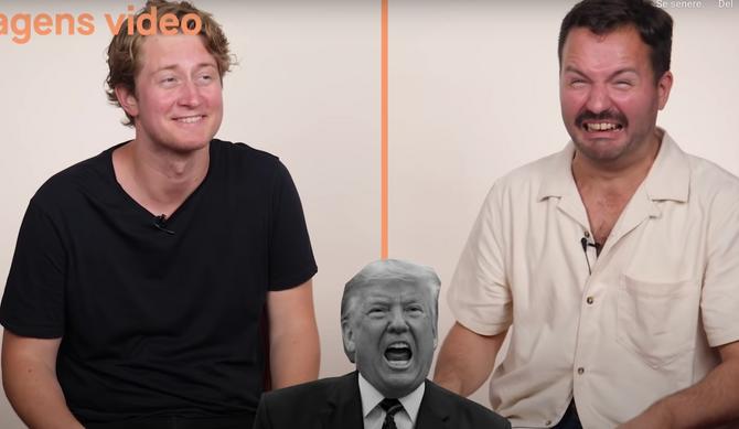 Christian Mikkelsen (til venstre) og Hasse Hope konkurrerer i parodier, blant annet Donald Trump.