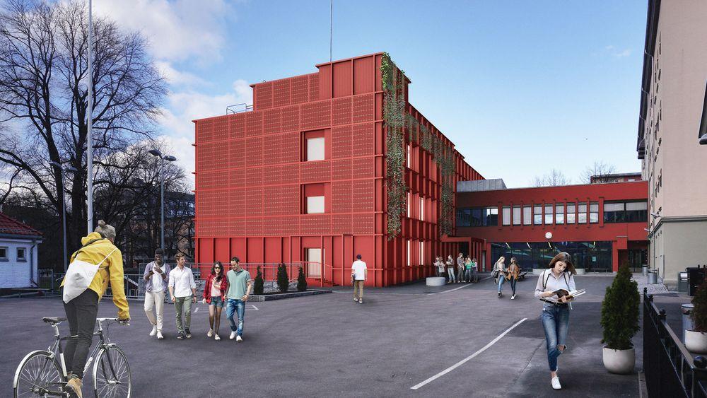 Solcellene på endeveggen skal være like røde som fasadene ellers.