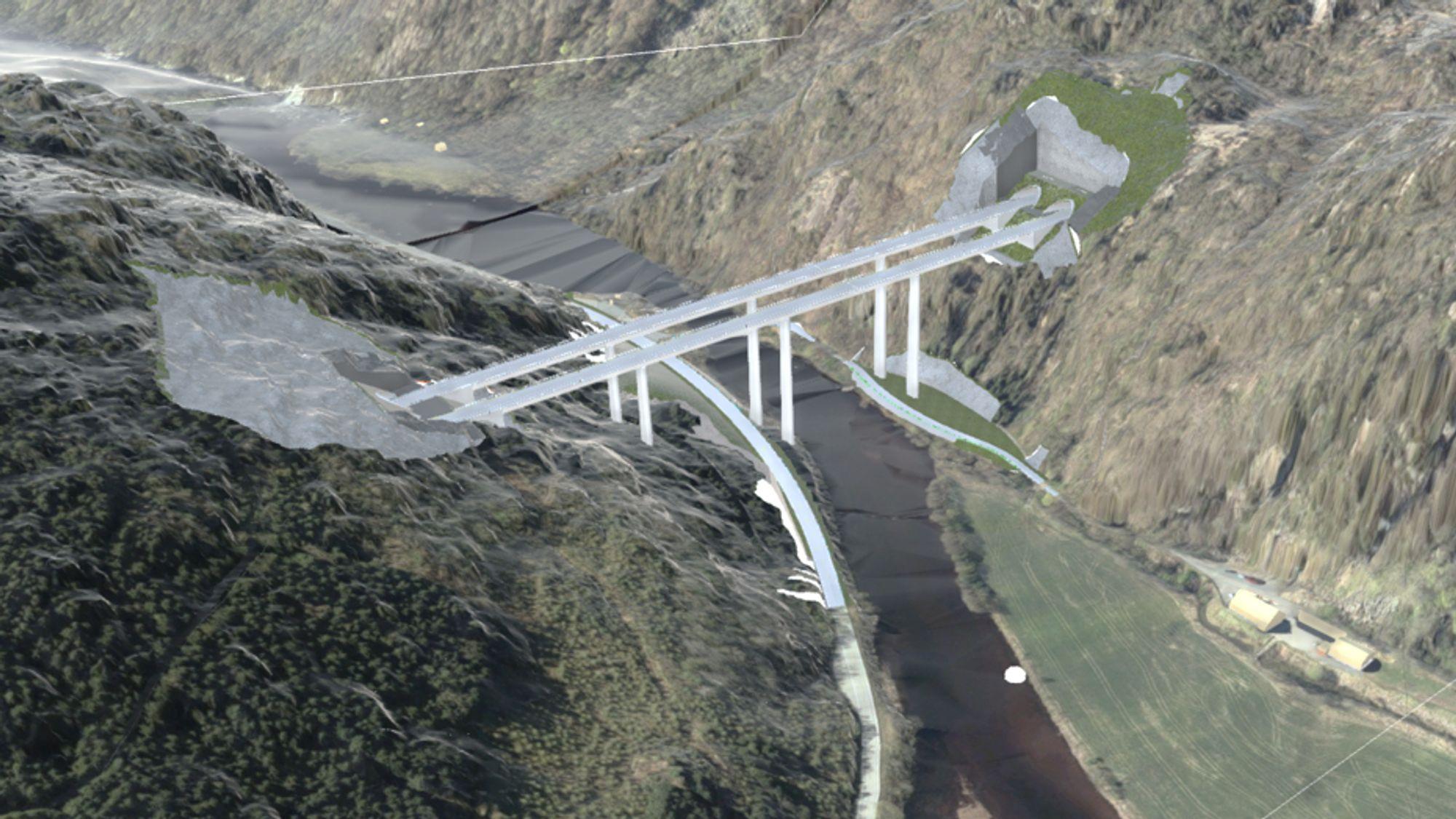 Mellom to lange tunneler skal det bygges en 70 meter høy bru.