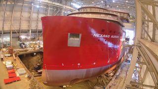 Verdens mest avanserte skip av sitt slag: Skreddersyr 150 meters megaskip til trange farvann