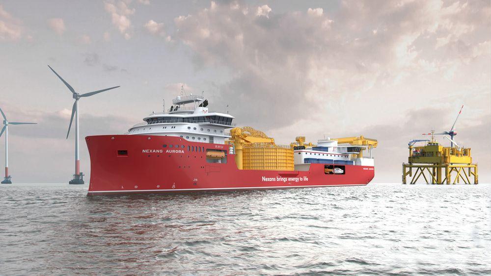 Nexans Aurora drar rett fra Ulstein Verft til kabellegging  på Seagreen offshore vindpark utenfor Skottland i 2021.