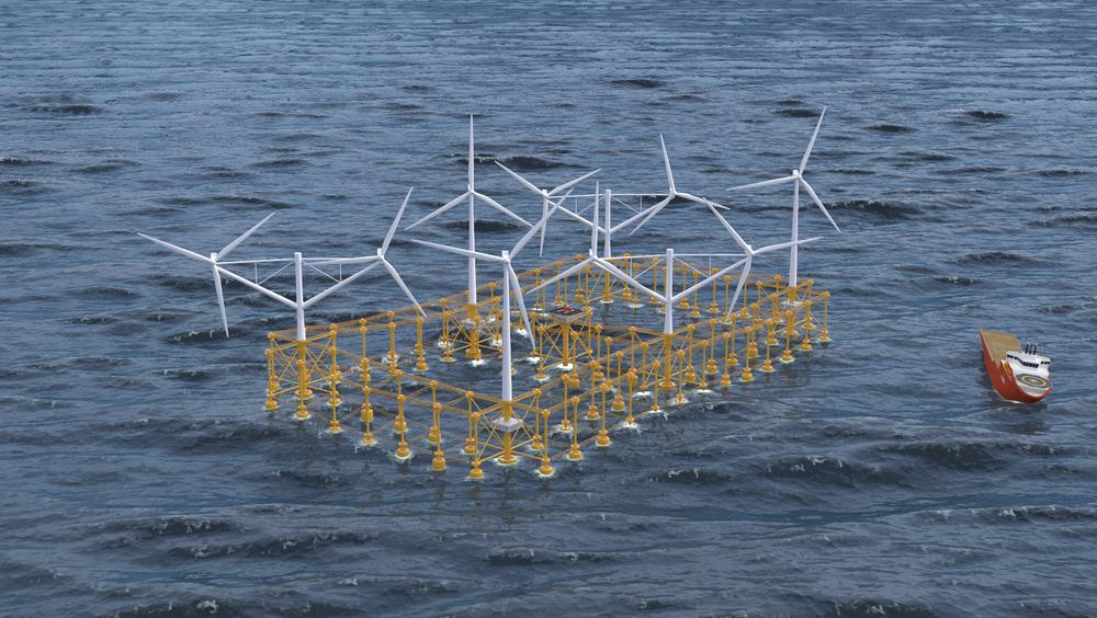 Konseptet vil i full skala måle 420 x 240 meter, dekke et areal på ca. 100 dekar og ha plass til ni vindturbiner på 5 MW hver.