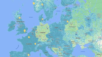 Veier dekket av Street View i blått. I Tyskland er Street View nærmest ikke-eksisterende sammenlignet med resten av Vest-Europa.
