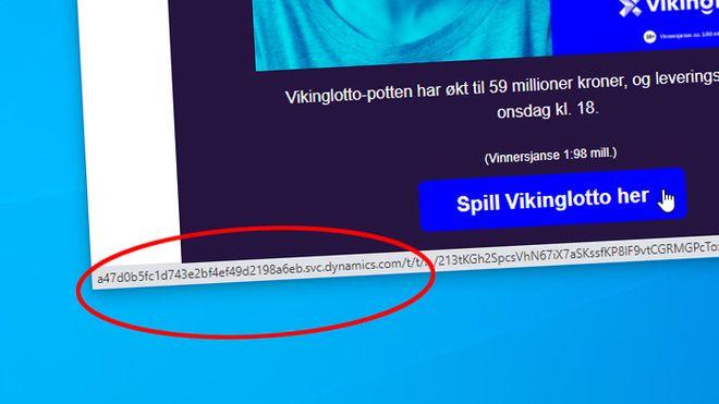 E-post sendt av Norsk Tipping 22. september 2020 som inneholder flere lenker med kryptiske nettadresser.