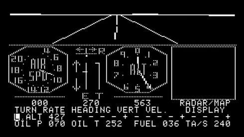 Monokrom visning av Microsoft Flight Simulator 1.0 fra 1982.